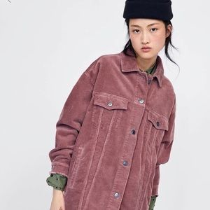 ZARA dusty pink corduroy oversized jacket